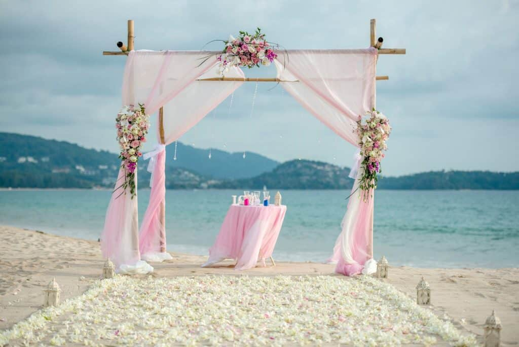 Beach Wedding Ceremony Flowers Phuket Thailand